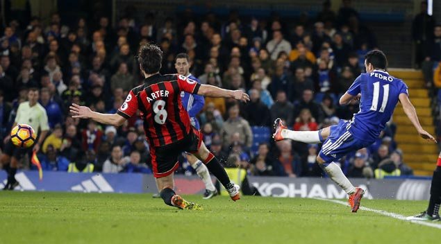 Pedro stars as Chelsea downs Bournemouth to set club record 12th straight win