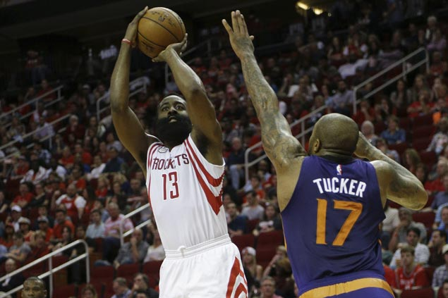 James Harden drops 32 in three quarters as Rockets cruise in wire-to-wire win over Suns