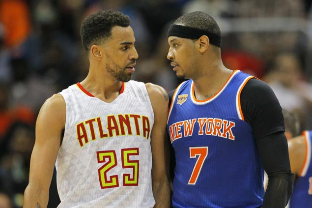 Hawks survive scare as Knicks gallant stand after Carmelo Anthony ejection falls short in OT