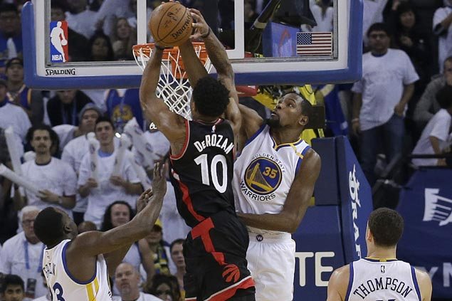 Warriors hold on to big lead this time around as Kevin Durant stuffs Raptors late-game rally