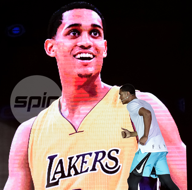 Lakers guard Jordan Clarkson takes the stage during a quick visit.