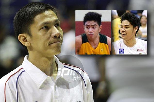 Olsen Racela reunites with former youth players Arvin Tolentino, Hubert Cani at FEU