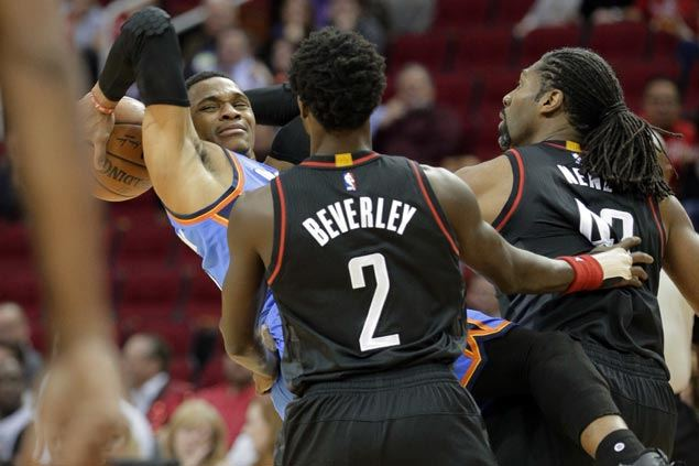Harden, Nene douse OKC Thunder's furious late rally as Rockets spoil Westbrook's 49-point game