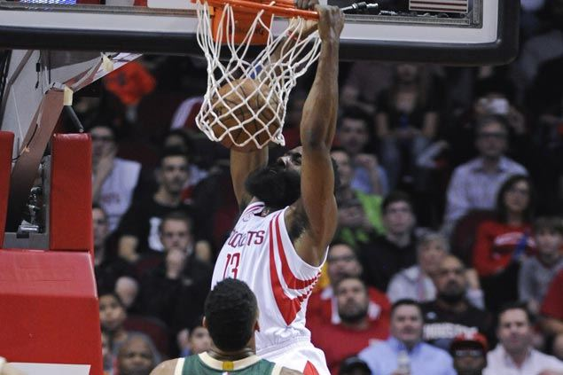James Harden scores 38 as Rockets ride huge second quarter to victory over slumping Bucks
