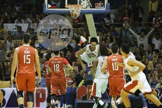Ginebra staff fears Japeth Aguilar suffered strained muscle on bad fall after dunk