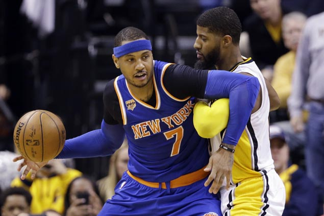 Carmelo Anthony hits go-ahead basket to spare Knicks from late-game collapse vs Pacers