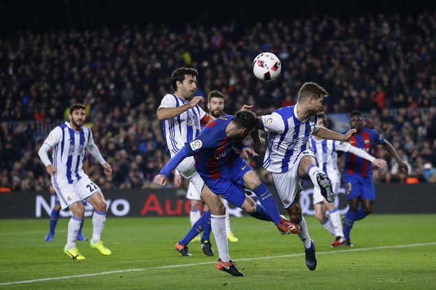 Lionel Messi scores, plays role in four other goals as Barca routs Sociedad to gain Copa del Rey semis