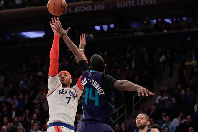 Carmelo Anthony, Courtney Lee show way as Knicks send Hornets to third straight loss