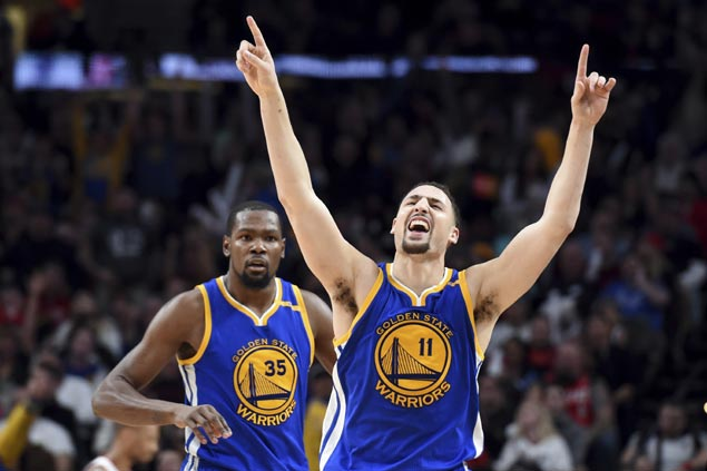 Warriors blow 21-point lead but hold steady behind Durant, Thompson to beat Blazers