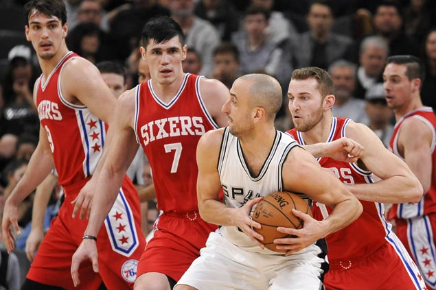 Spurs pull away late to overcome sluggish start, escape upset ax against Sixers