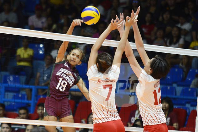UP Lady Maroons edge UE Lady Warriors in tough three-setter to keep slate unblemished