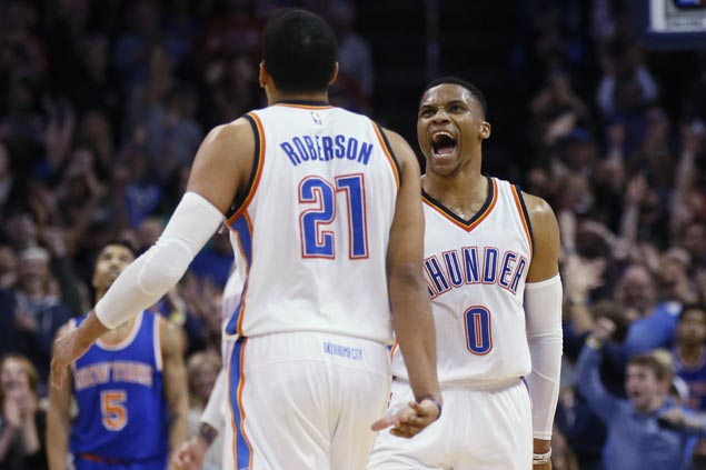 Westbrook nabs triple-double No. 27 as Thunder rallies from 17 down to stun Knicks