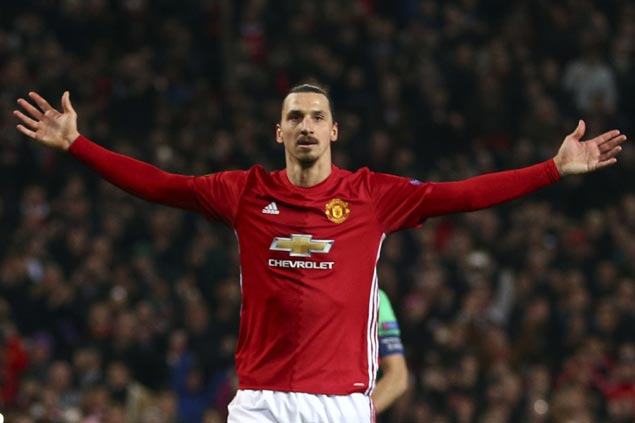 Zlatan Ibrahimovic nets hat trick to lift Manchester United over Saint-Etienne in Europa League