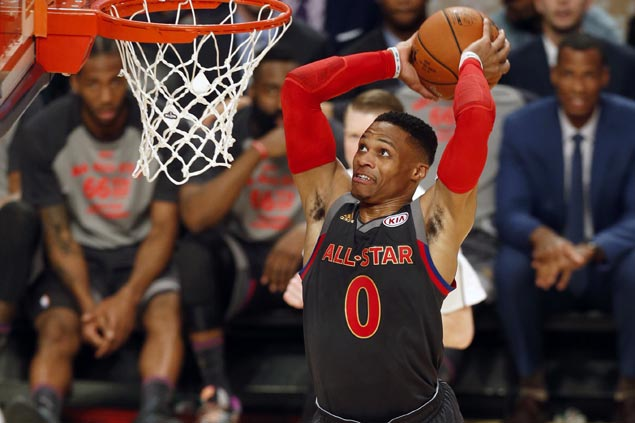 Durant-Westbrook alley-oop takes spotlight early before Anthony Davis steals show in All-Star Game