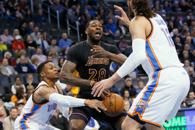 Russell Westbrook posts 28th triple double of season as Thunder send Lakers to third straight loss