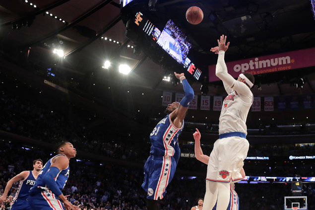 Knicks halt two-game slide as Carmelo Anthony hits game-winner against 76ers