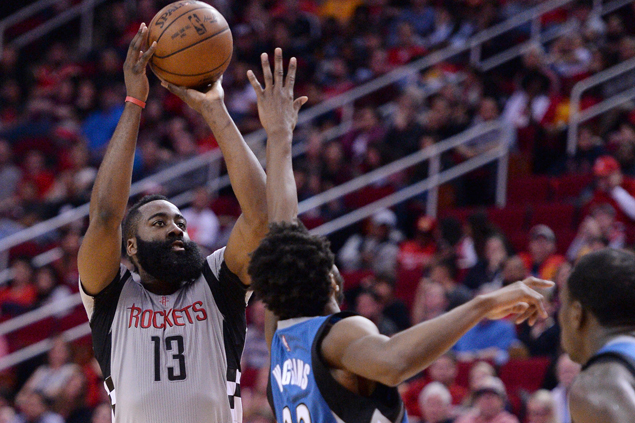 James Harden hits five of Rockets' 22 triples in rout of Timberwolves