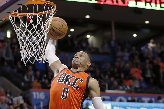Westbrook posts 29th triple-double of season as Thunder down Pelicans and keep Boogie-Brow duo winless
