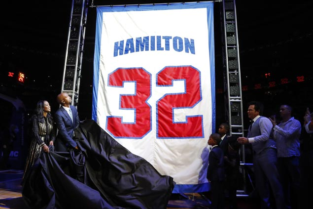 Rip Hamilton finds closure in emotional return to Detroit as Pistons retire no. 32