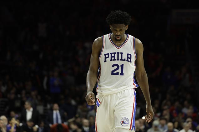76ers rookie Joel Embiid out for rest of season with torn meniscus in left knee