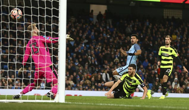Sergio Aguero double powers Man City past second-tier Huddersfield and into FA Cup quarters