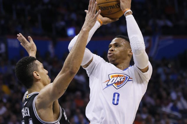 Westbrook ties second-most triple-doubles in a season to lead Thunder in ending Spurs win run