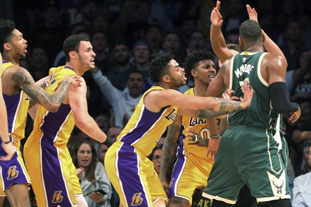 Tempers flare, three players ejected as Bucks hold off Lakers