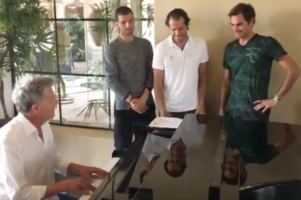 Federer belts out with Djokovic in much-improved return of tennis boy band 'Backhand Boys'