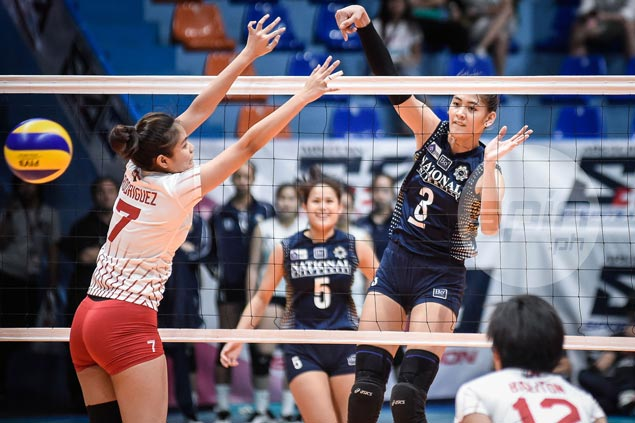 NU Lady Bulldogs overcome some sloppy play to defeat lowly UE Lady Warriors and boost semis bid