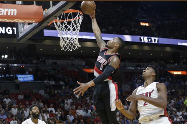 Damian Lillard scores season-high 49 points, ties career-high nine triples, as Blazers beat Heat
