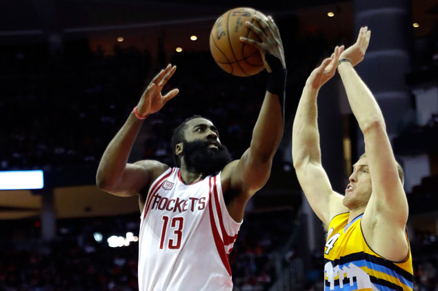 James Harden makes go-ahead basket, game-saving steal as Rockets down skidding Nuggets