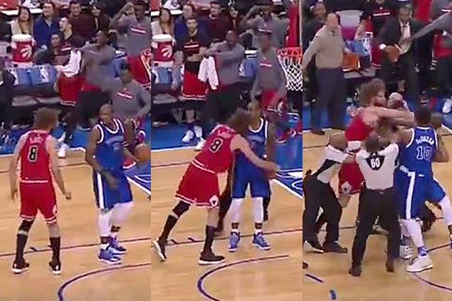 Serge Ibaka and Robin Lopez trade punches, thrown out from Bulls-Raptors match
