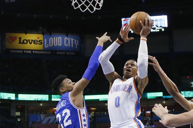 Russell Westbrook posts 35th triple-double of season as Thunder rip Sixers