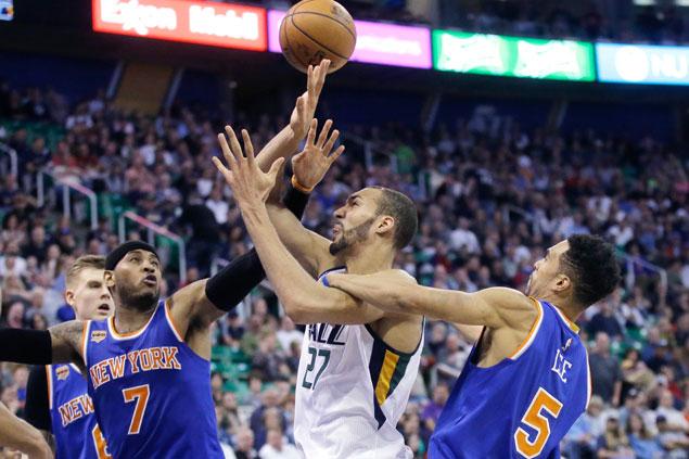 Rudy Gobert scores career-high 35 as Jazz rally to beat Knicks