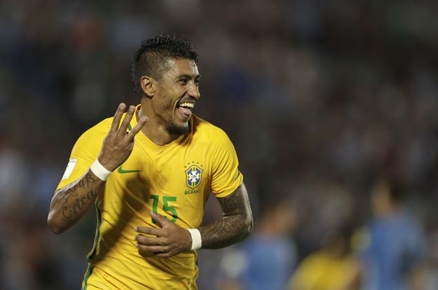 Paulinho scores hat-trick as Brazil rips Uruguay to close in on World Cup spot