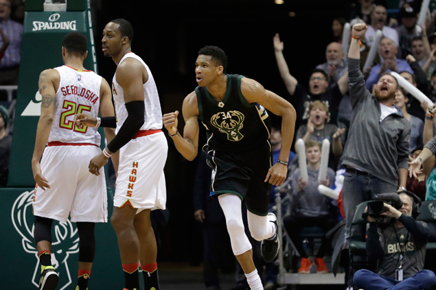 Giannis Antetokounmpo has huge double-double as Bucks down East rival Hawks