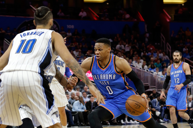 Russell Westbrook drops 57 points as Thunder fight back from 21 down to beat Magic in OT