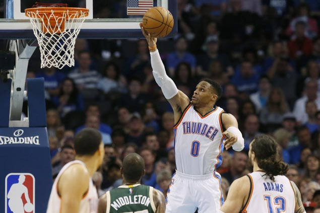 Russell Westbrook ties record for most triple-doubles in a season in rout over skidding Bucks