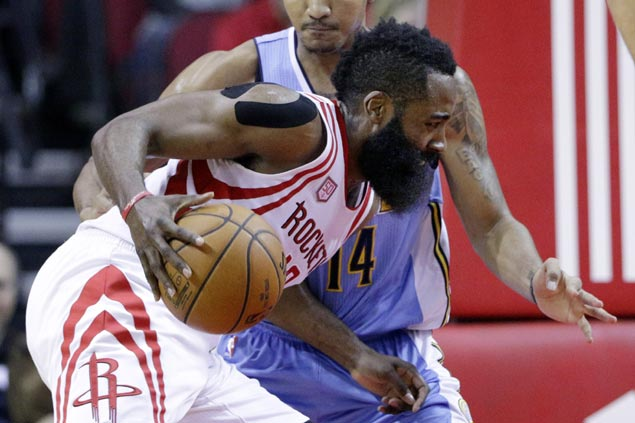 Harden takes charge in clutch as Rockets blow 17-point lead but recover to beat Nuggets