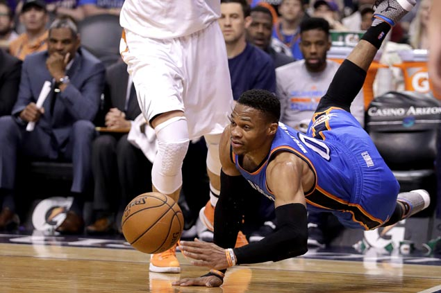Westbrook sets triple-double average, falls short in setting new single-season mark in loss to Suns