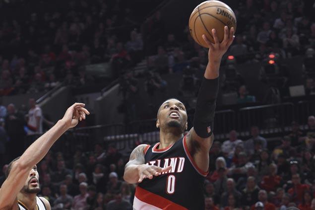 Damian Lillard scores franchise-record 59 points as Blazers down Jazz