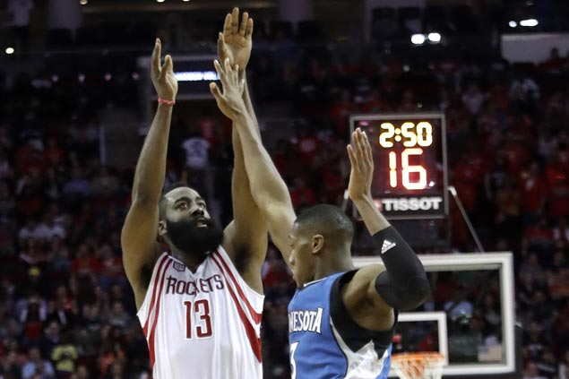 James Harden posts triple-double as Rockets beat Wolves to get back on track ahead of playoffs