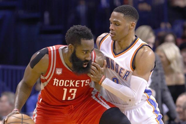 Spotlight turns to Russell Westbrook vs James Harden in sensational NBA playoffs opener