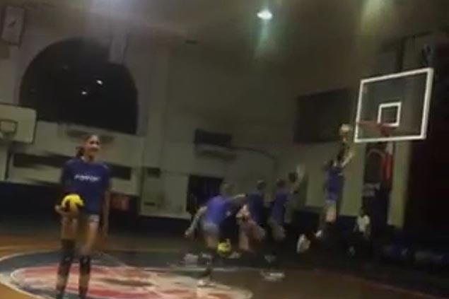 Jaja Santiago soars for the... dunk? NU spiker shows off hops with easy slam. WATCH