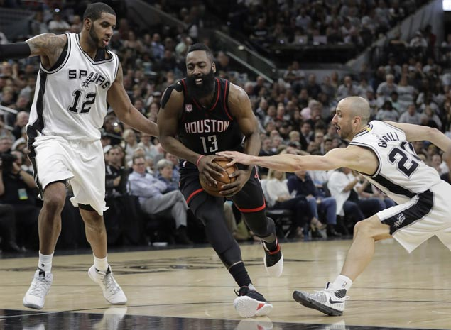 Rockets sink 22 triples in 27-point rout of Spurs in Western Conference semis opener