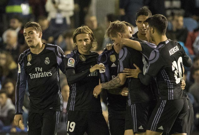 Real Madrid needs only a draw in next match to claim La Liga crown after victory over Celta