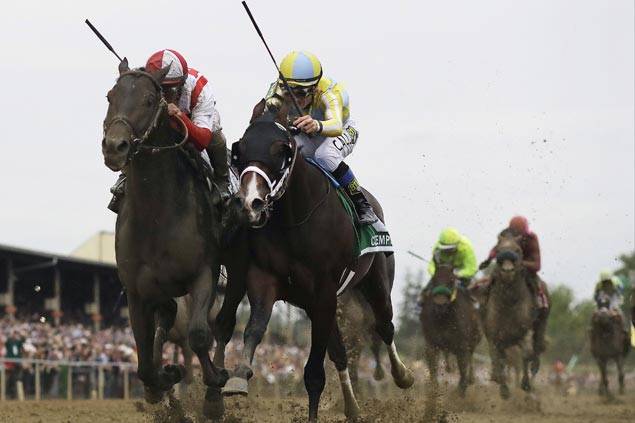 Well-rested 13-1 shot Cloud Computing edges Classic Empire as Always Dreaming fades in Preakness