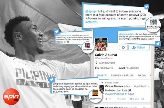 Dennis Pineda urges action against 'scammer' using fake Calvin Abueva Twitter, IG accounts