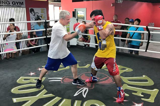 Freddie Roach likes what he saw after Day One of training with Manny Pacquiao