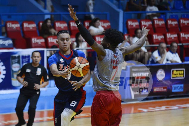 Rey Nambatac out for rest of Letran's preseason schedule due to hyperextended knee